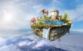 island with a dragon and tower castle, a waterfall on the from above flipped mountain is flying in space