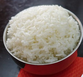 Bowl of rice for rice water