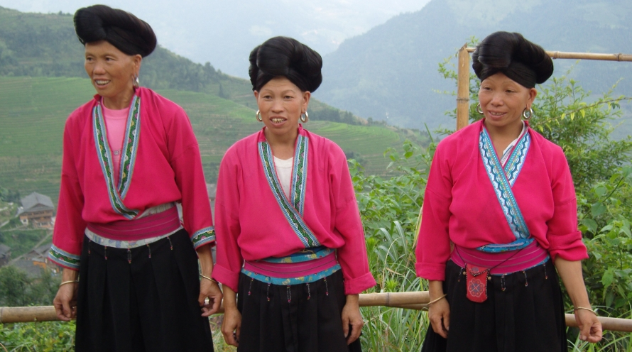 Yao Women of Guangxi With Their Hair Up